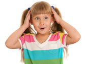 Little girl under the impression — Stock Photo