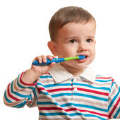First brushing teeth — Stock Photo