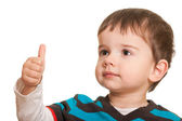 Happy child with thumb up — Stock Photo