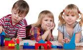 Playing blocks in kindergarten — Stock Photo