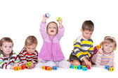 Playing blocks in kindergarten — Stock Photo