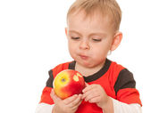 Little boy with a big red apple — Stock Photo