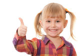 Cheerful girl in casual with thumb up — Stock Photo