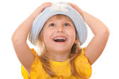 Happy girl in a summer hat — Stock Photo
