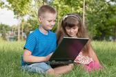 Z laptopa na trawie — Zdjęcie stockowe