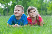 Two dreamer on the grass — Stock Photo