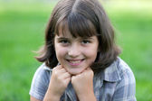 Closeup portrait of a nine-year-old girl — Stock Photo