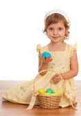 Little girl with Easter basket — Stock Photo