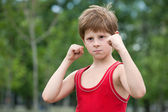 Trained young fighter — Stock Photo