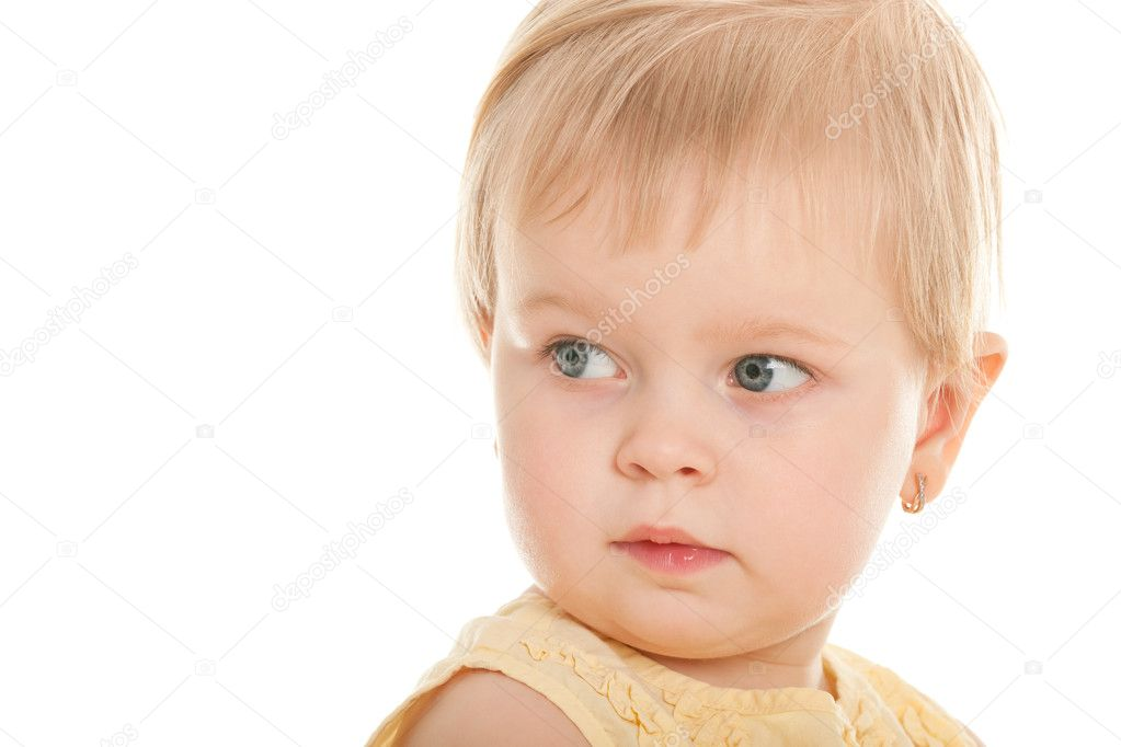 A portrait of a thoughtful little girl isolated on the white background — Stock Photo #8143645