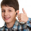 Happy learner showing thumb up — Stock Photo