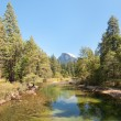 Landscape with mountains and river in Yosemite - Stockfoto