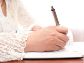 Writing secrets in the diary — Stock Photo