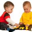 Playing with blocks two toddlers — Stock Photo