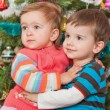 Young couple at the decorated christmas tree — Stock Photo #8603161