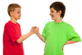 Greeting of two boys — Stock Photo