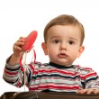 Little boy's first valentine - Stockfoto