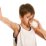 Drinking milk boy — Stock Photo