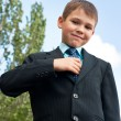 Tidy boy in suit - Stock Photo
