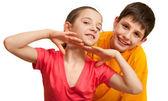 Dos niños coqueteando — Foto de Stock