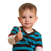 Portrait of a handsome smiling toddler in casual isolated on whi — Stock Photo