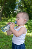 Drinking water toddler — Stock Photo