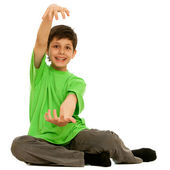 Boy showing the size of present he wants to get — Stock Photo