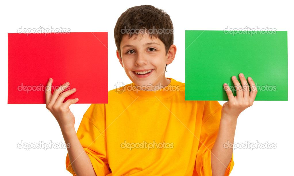 A boy is holding a sheet of paper isolated on the white background — Stock Photo #8639450