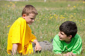 Conversation of two boys on the grass — Stock Photo