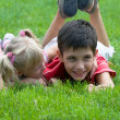 Little girl and boy at the park - Stockfoto