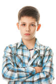 Serious boy in checked shirt — Stock Photo