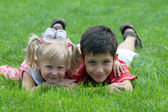 Smiling little friends at the park — Stock Photo