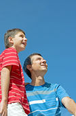 Father and his son outdoors — Stock Photo