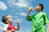 Drinking water brothers — Stock Photo