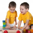 Two brothers playing blocks — Stock Photo
