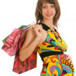 Pretty pregnant lady with shopping — Stock Photo