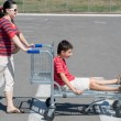 Stock Photo: Family going for a weekend shopping