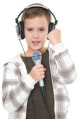 Young and handsome singer — Stock Photo