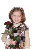 Pretty girl with a rose — Stock Photo