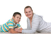 Smiling mom and her growing son — Stock Photo
