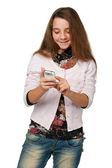красивая девушка с сотового телефона — Стоковое фото