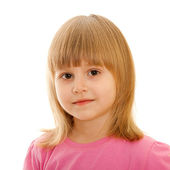 Dalgın küçük kız pembe — Stok fotoğraf