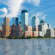View on New York from Hudson river - Stock Photo