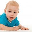 Cheerful baby boy on the blanket — Stock Photo