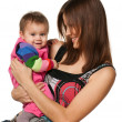 Cheerful baby girl with her mother — Stock Photo