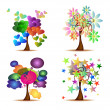 Set Original Trees — Stock Vector
