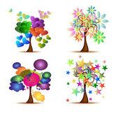 Set Original Trees — Stock Vector