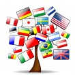Background with the main tree and flags - Stock Vector