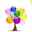 Abstract background with tree and like the rainbow colored balls — Stock Vector