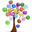 Nice tree with colorful smilies with different expression - Stock Vector
